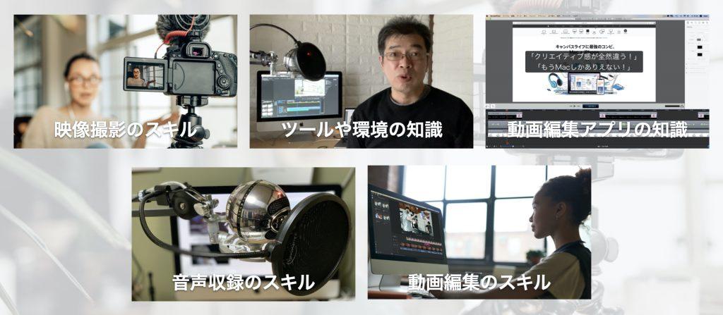 1.映像撮影のスキル 2.音声収録のスキル 3.ツールや環境の知識 4.動画編集のスキル5. 動画編集アプリの知識