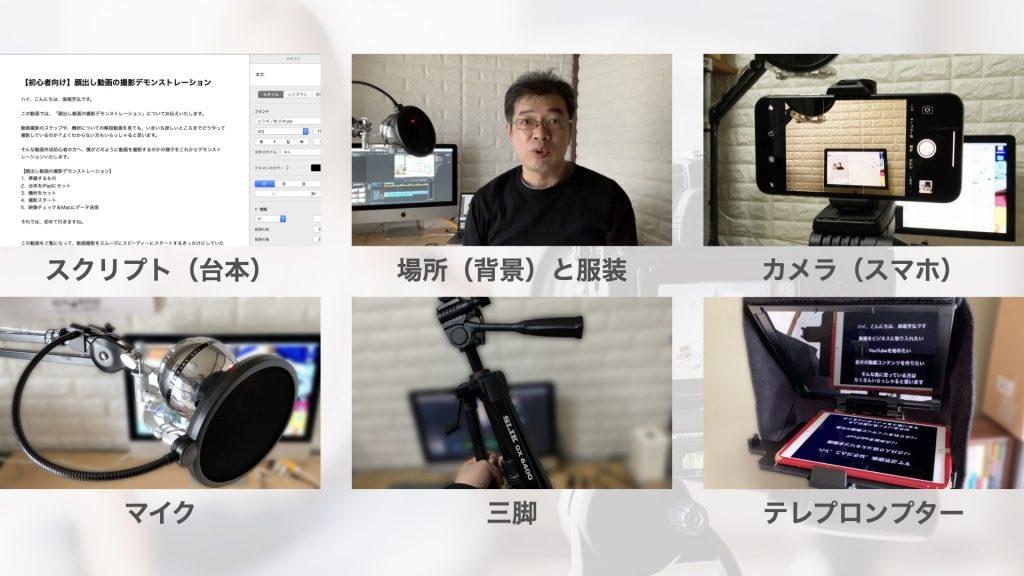 準備するもの WordやPagesなどテキストエディターで作成したスクリプト(台本) 場所(背景)と服装 カメラ(スマホ) マイク 三脚 テレプロンプター